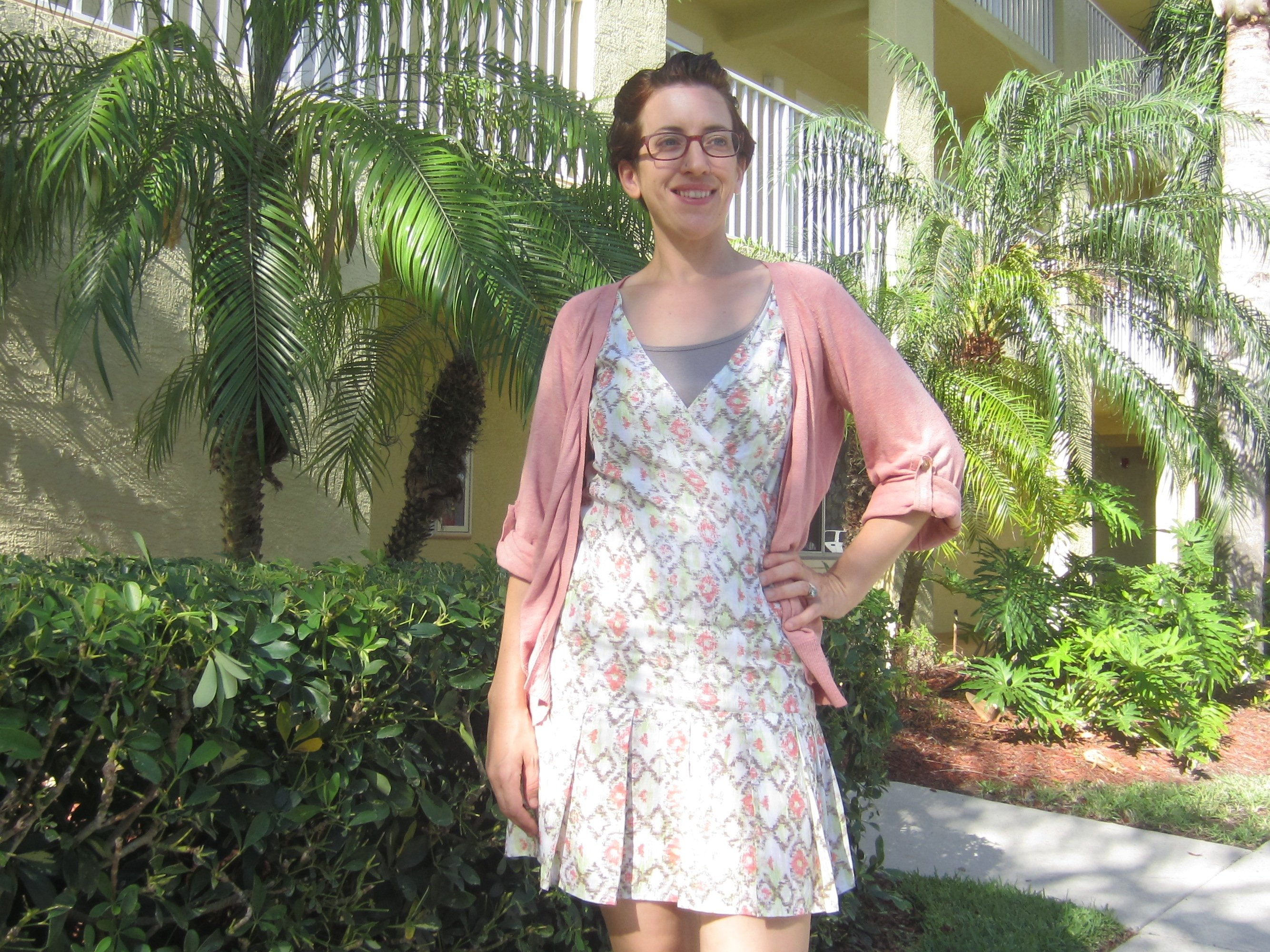 MMM Day 29! Wearing one of my first makes- an altered version of the Colette Laurel(unblogged). I made a crossover bodice for nursing and added pleats to the lower half of the dress. Plus a madder dyed sweater in the morning. #mmmay14