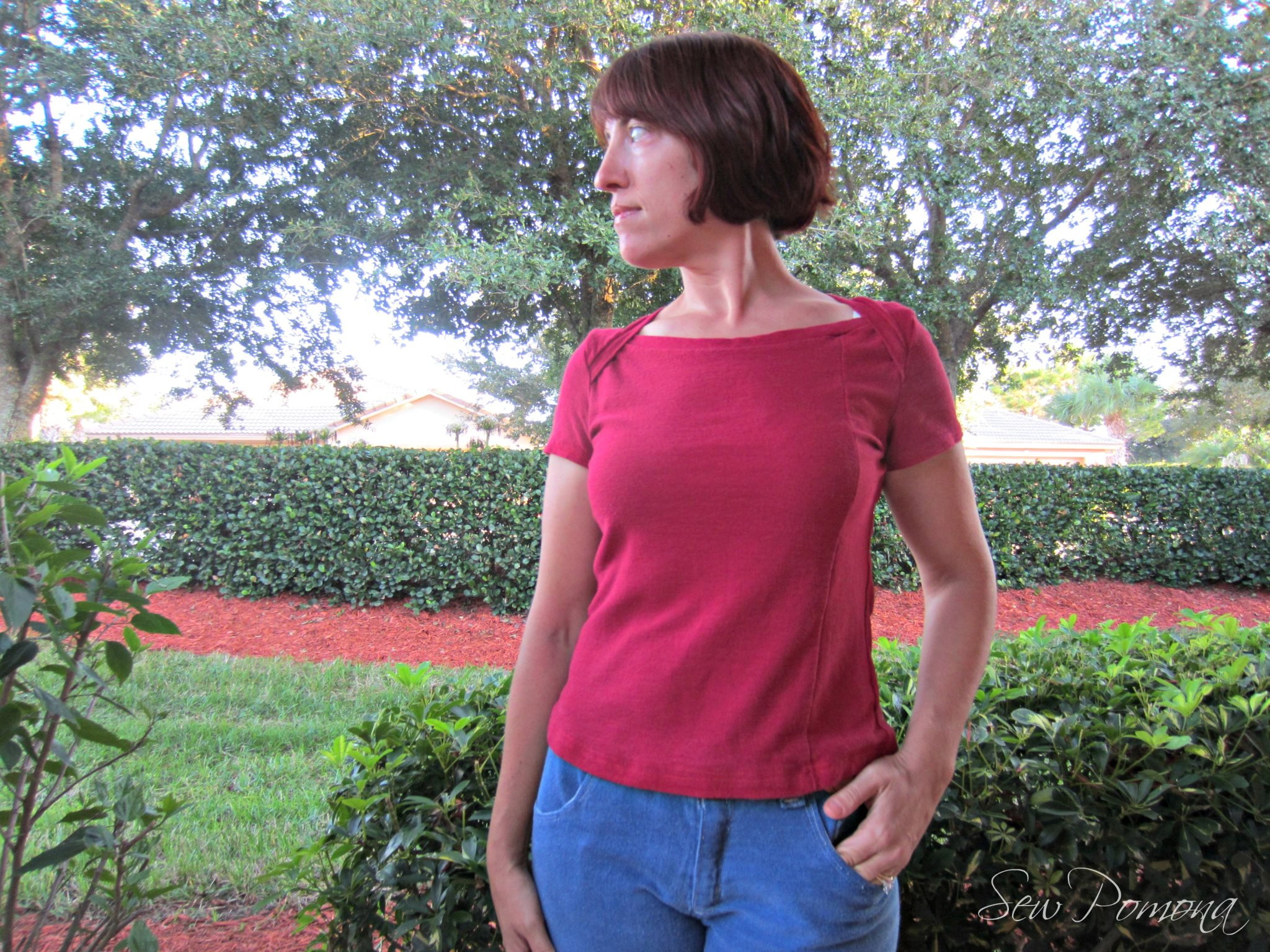 Vintage Red Bronte Top, Sew Pomona