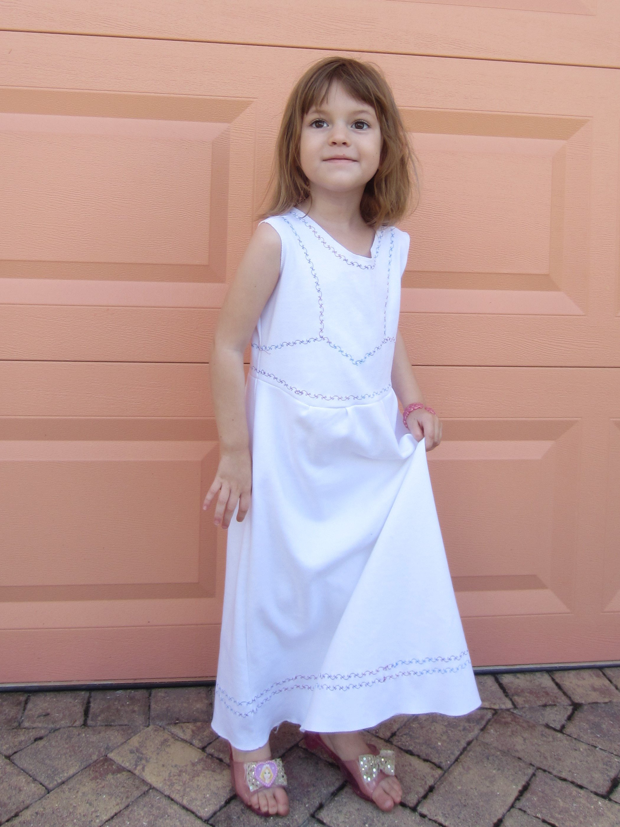 Sewing for Amelie, Sofia the First, Reverse applique organic knit dress and underslip, Sew Pomona
