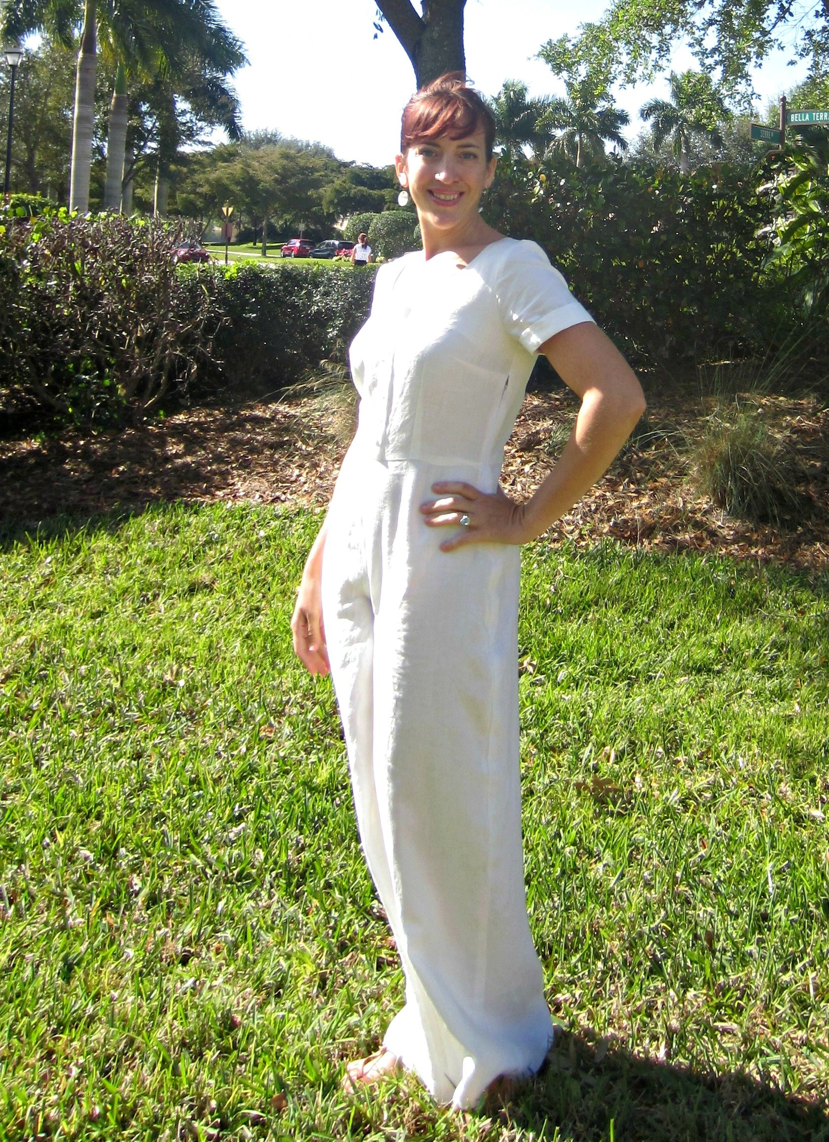 White Linen Holly, Holly jumpsuit By Hand London, Sew Pomona
