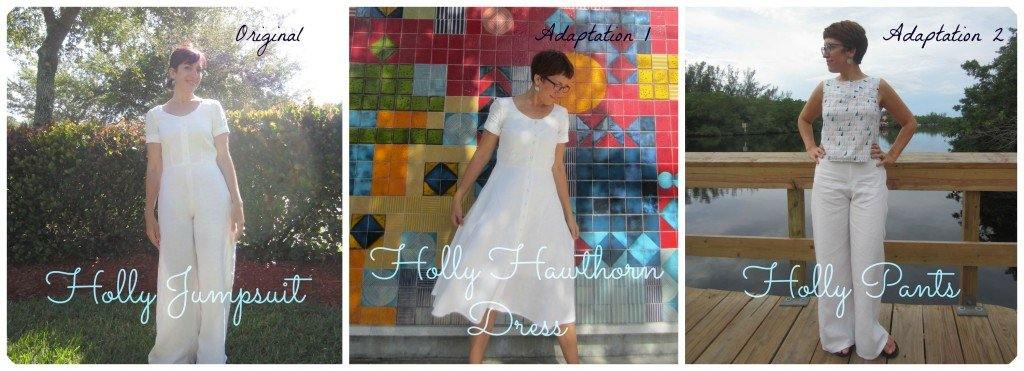 Holly Pattern Hacks, Original Holly Jumpsuit, By Hand Lond, Holly Hawthorn Dress (Colette Hawthorn Skirt), and Holly Pants all in Hemp Lnen from Organic Cottons Plus.  Sew Pomona