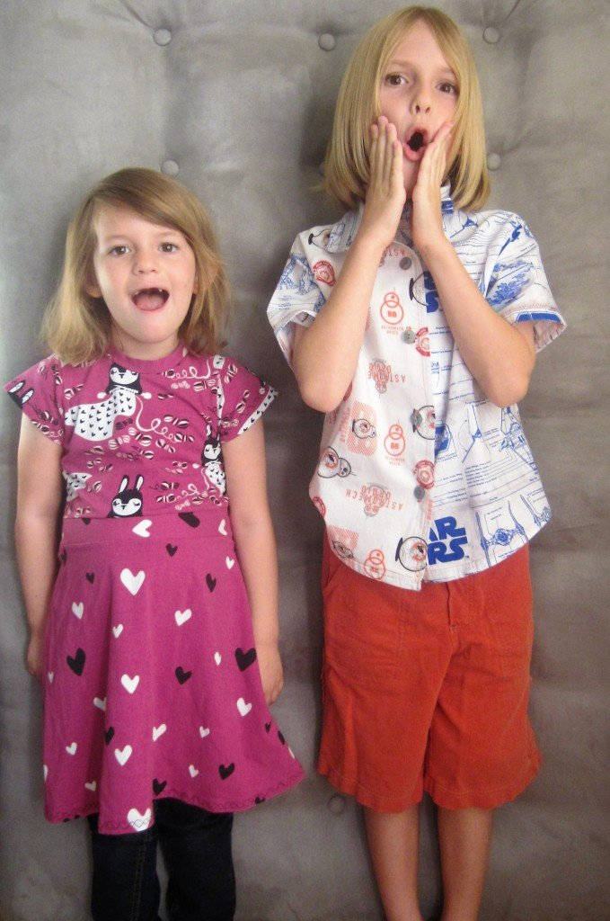 Star Wars Boy's Shirt M6548 and Girls Skater Dress (Kitschy Coo fabric and pattern) Handmade Christmas at Sew Pomona