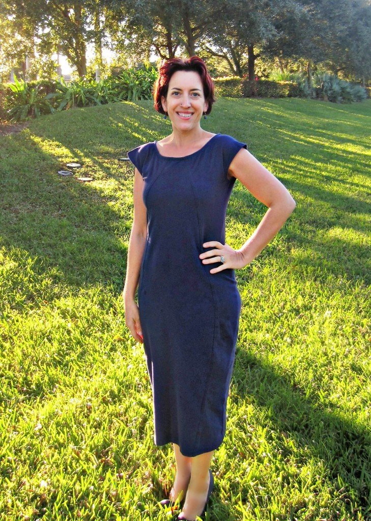 Navy Midi Dress + Gold Donna Karan Wrap Dress fabric Organic Cottons Plus, Sew Pomona