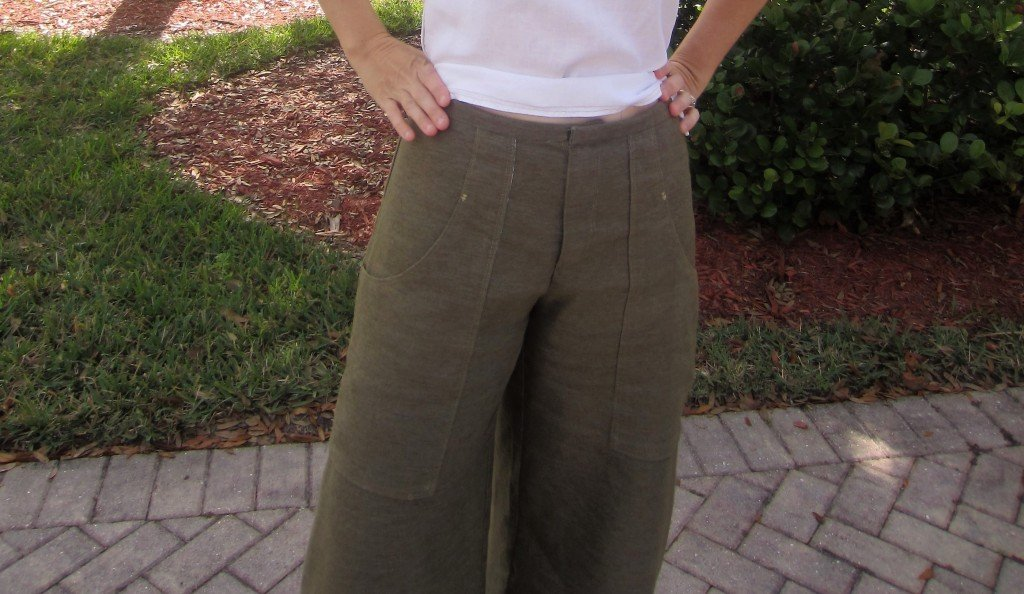 Wide Leg Trouser Culottes, Self Drafted Pattern in Olive Recycled Poly from Honey Be Good