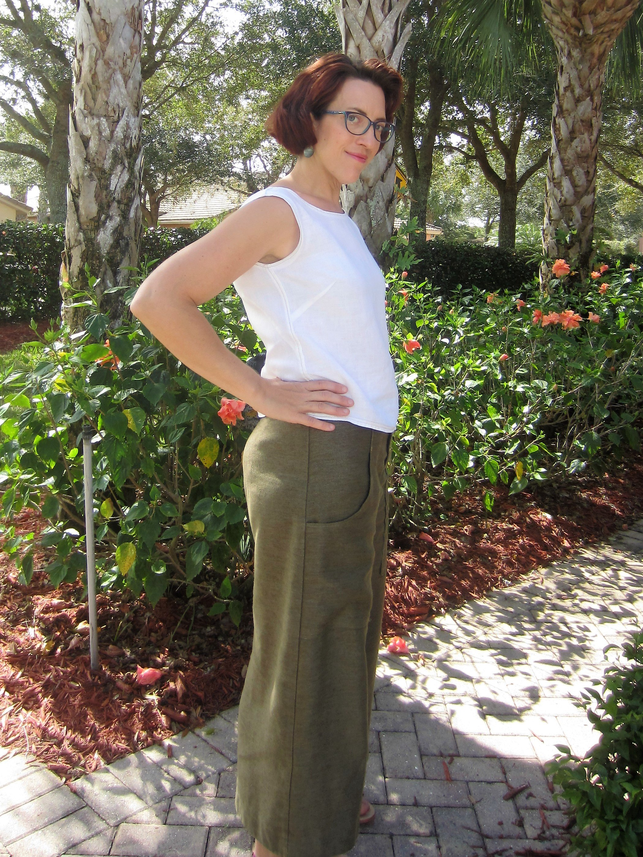 Wide Leg Trouser Culottes in Hemp Recycled Poly Twill