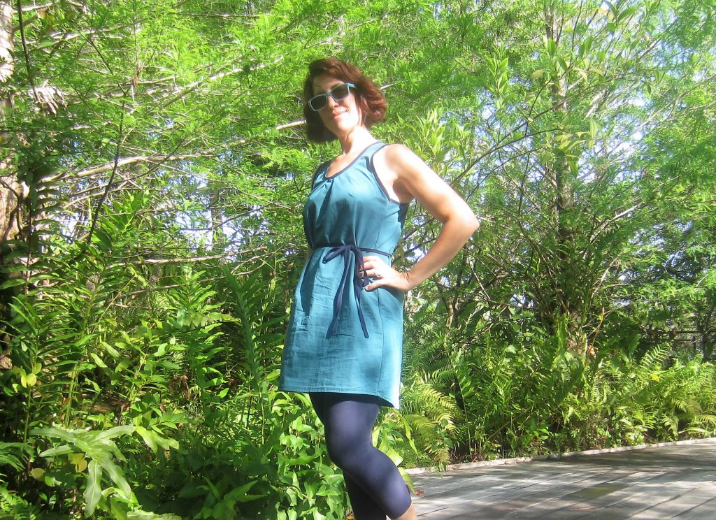 Day 2 MMM- Lemon Drop Dress and Self Drafted Leggings, Sew Pomona Me Made May 2016