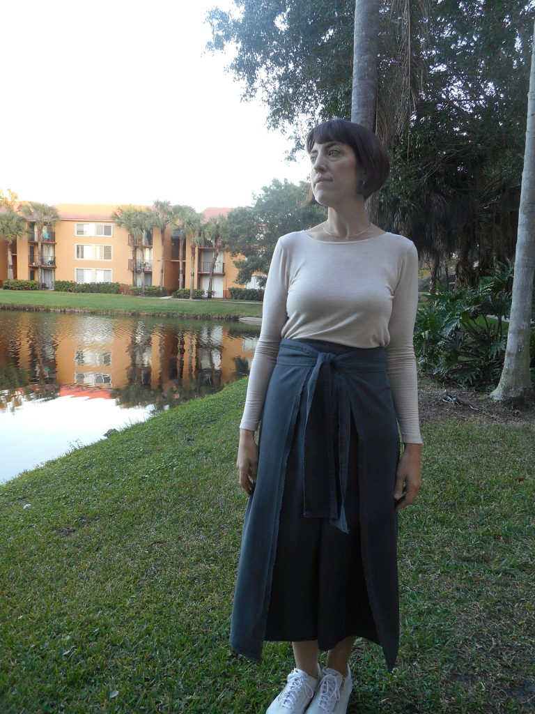 Work Wardrobe-Apollo Gray Selvedge Wrap Culottes