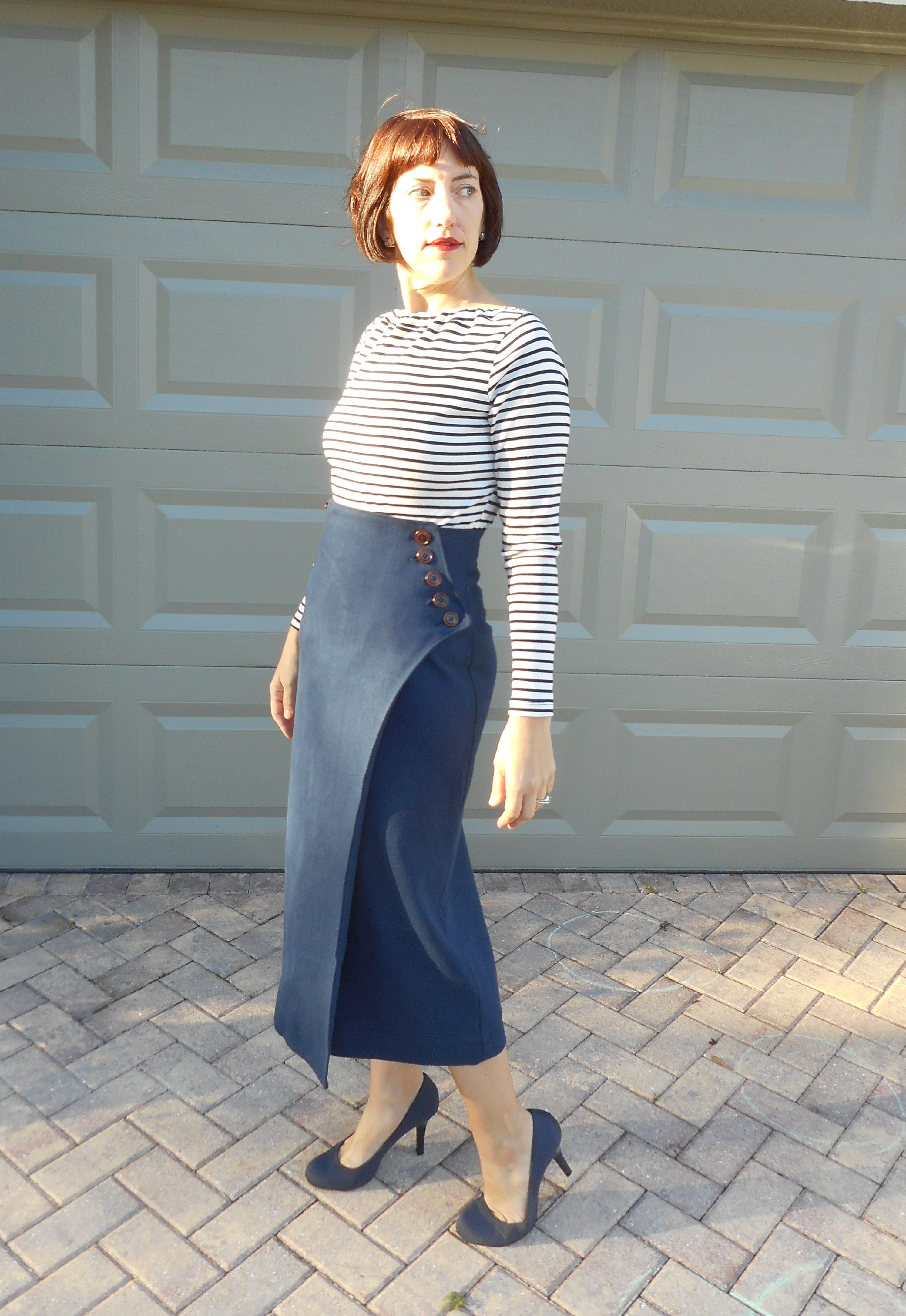 Hemp/Wool Tweed Vogue Wrap Skirt V9209 + Breton Stripe Top
