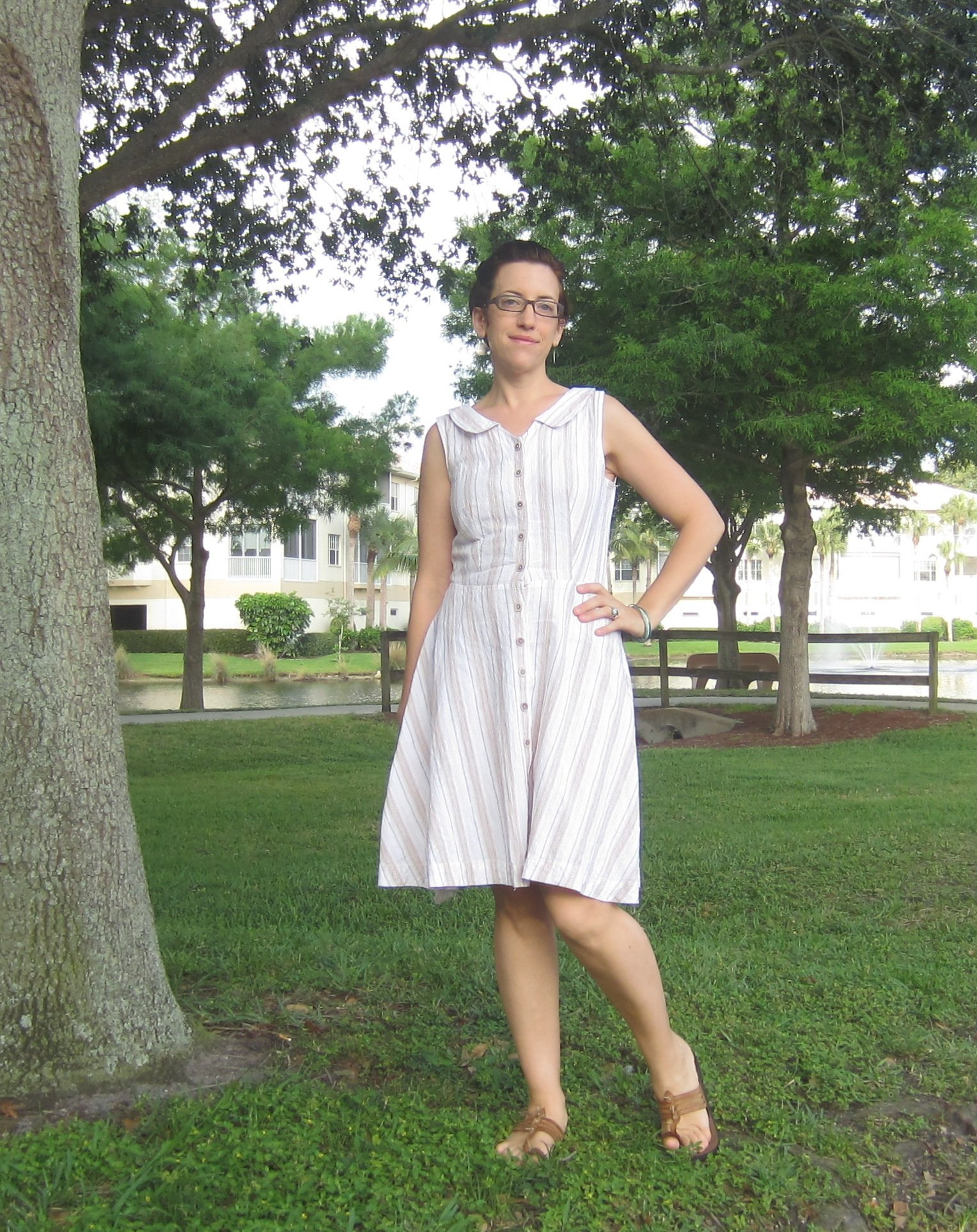 MMM Day 16- Friday's theme: Too Pretty to Wear Pants Wearing my Colette Hawthorn Dress.