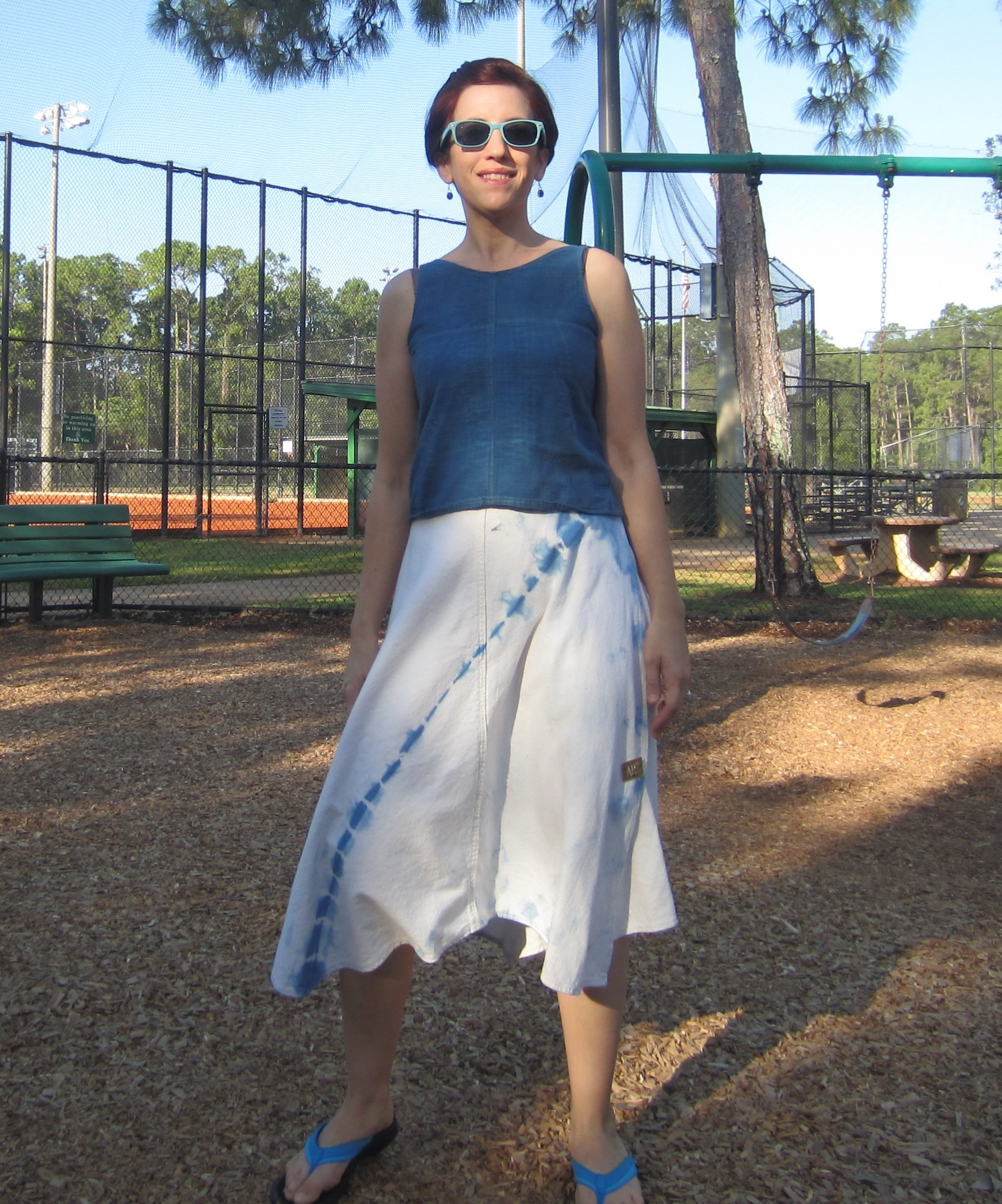 MMM Day 20- Morning at the park with Ami- Self Drafted top and Reversible Wrap Skirt, both dyed with Indigo