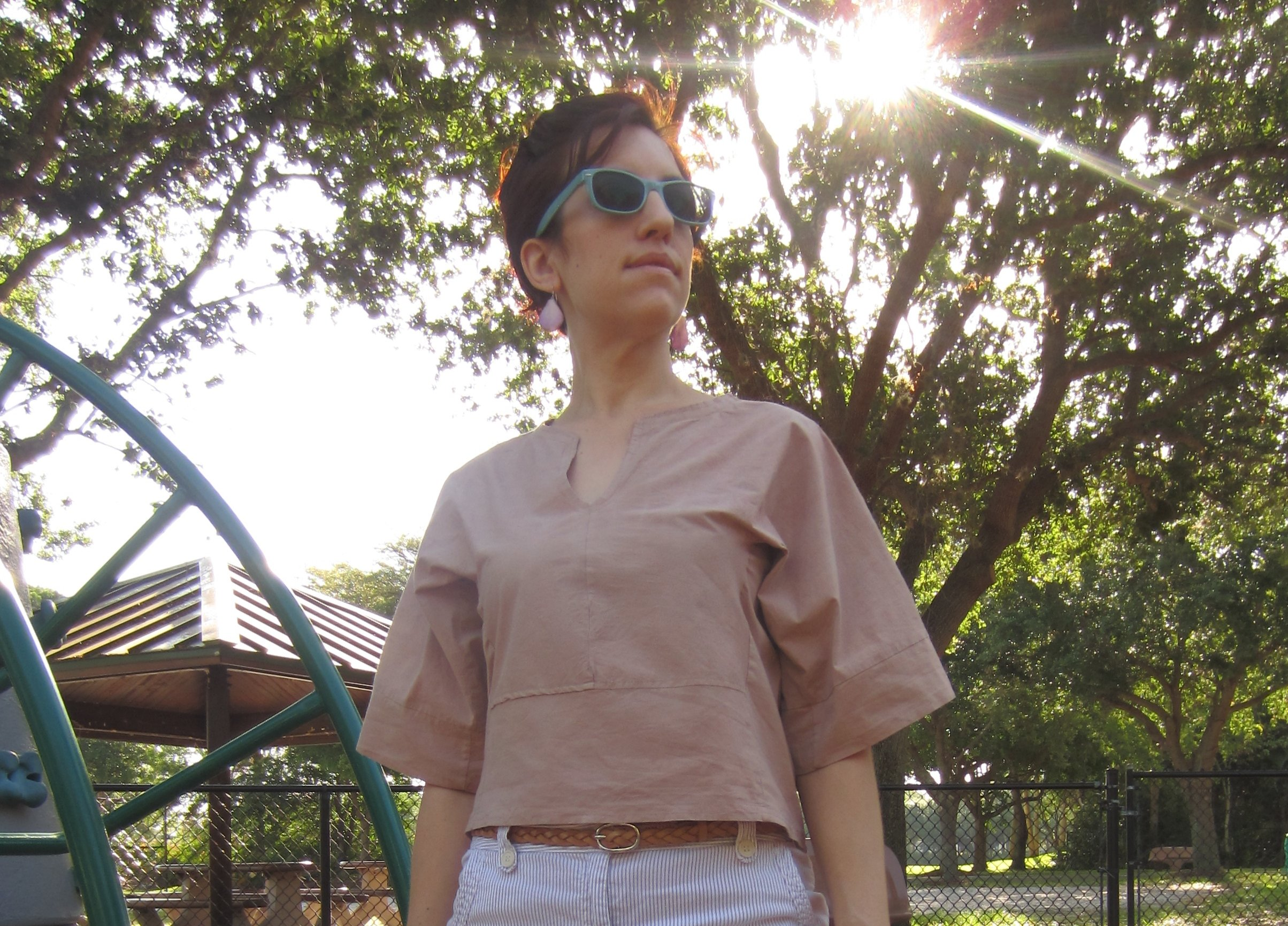 MMM Day 21- My newest make- a Burda Blouse made with an Organic Cotton lycra Mix & dyed with Quebracho Rojo.