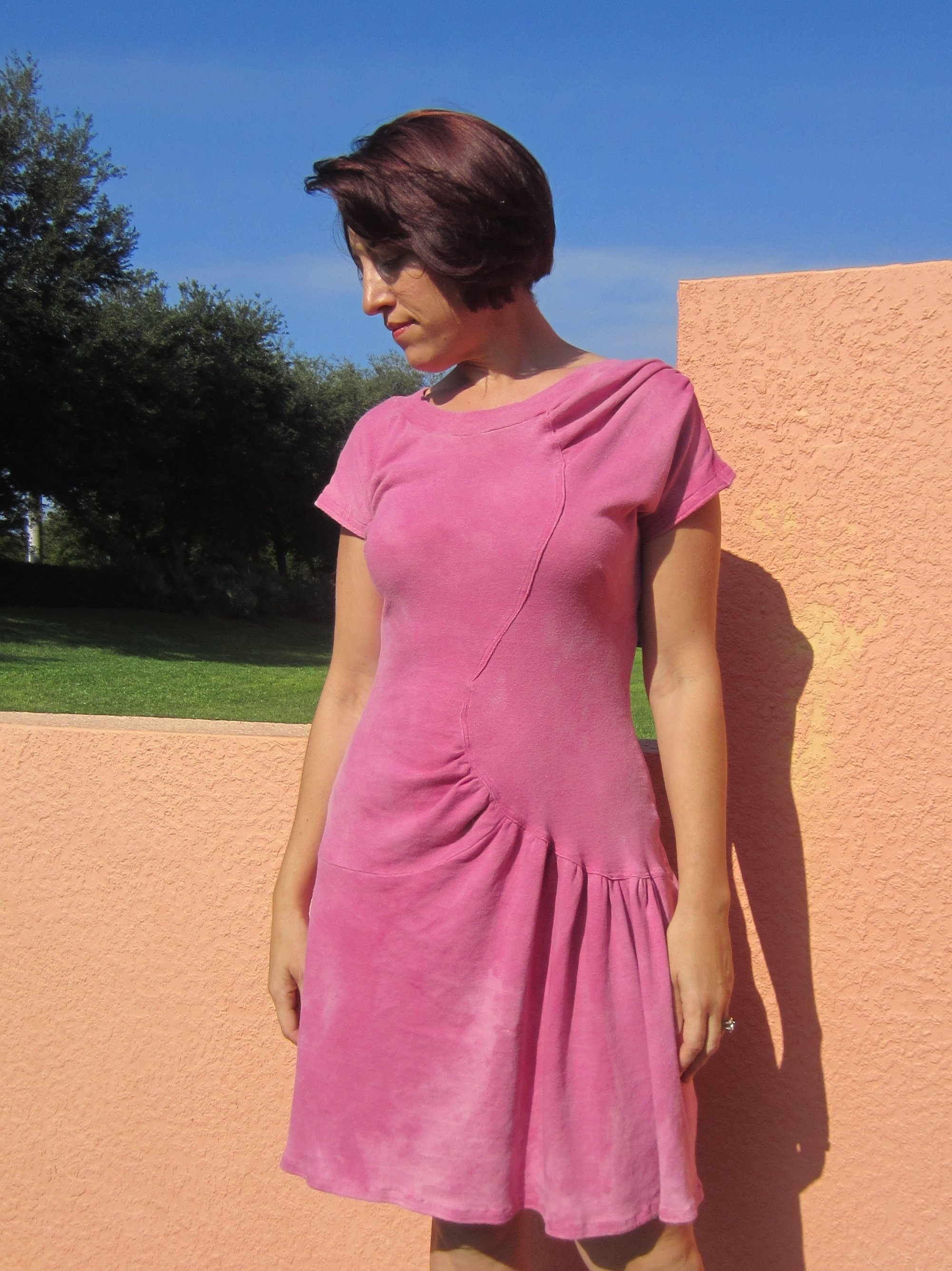 Vintage Vogue V2787 Cochineal Dyed Organic Knit Dress, Sew Pomona