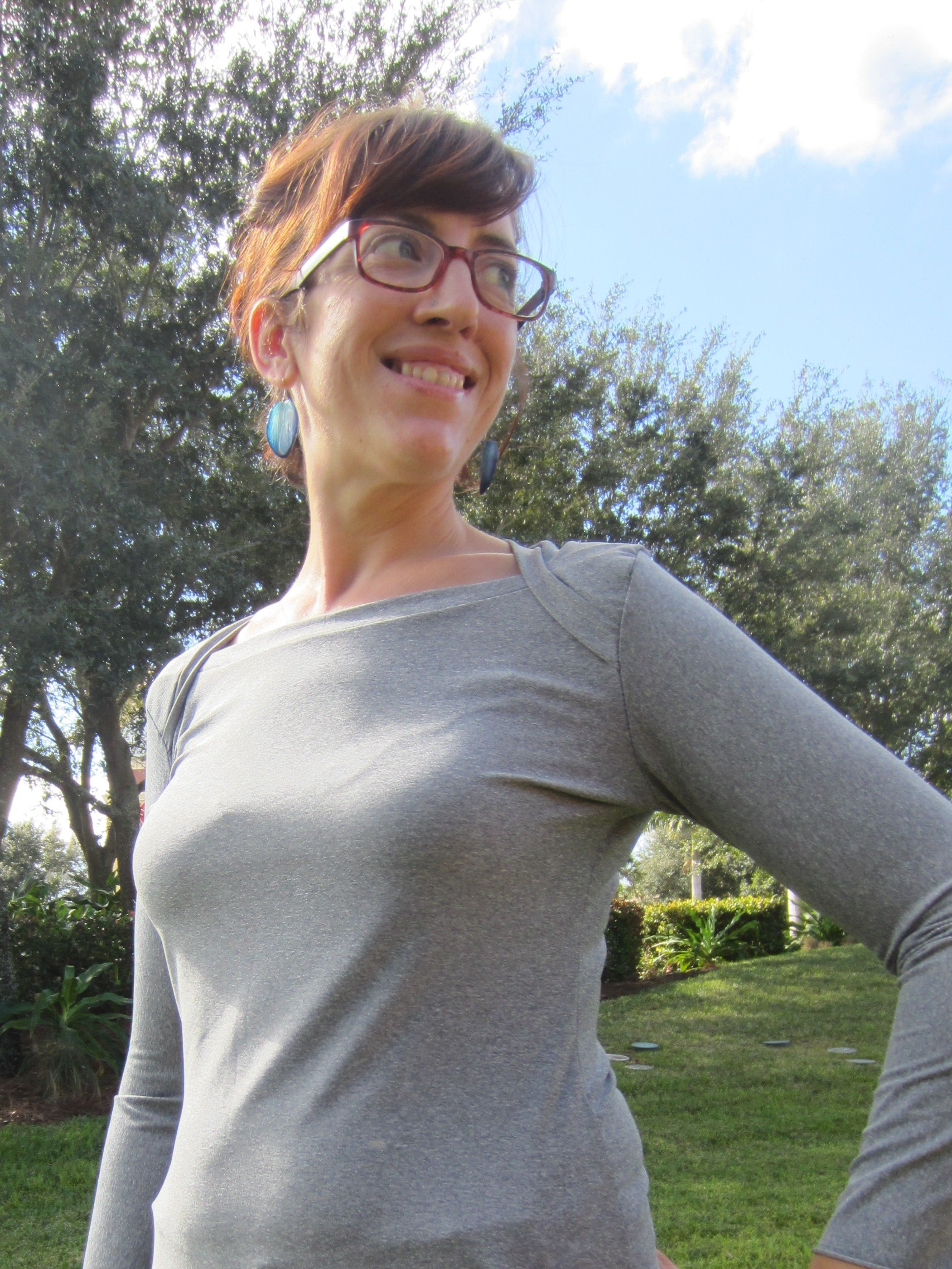 Bronte Top Grey Performance Knit, Sew Pomona