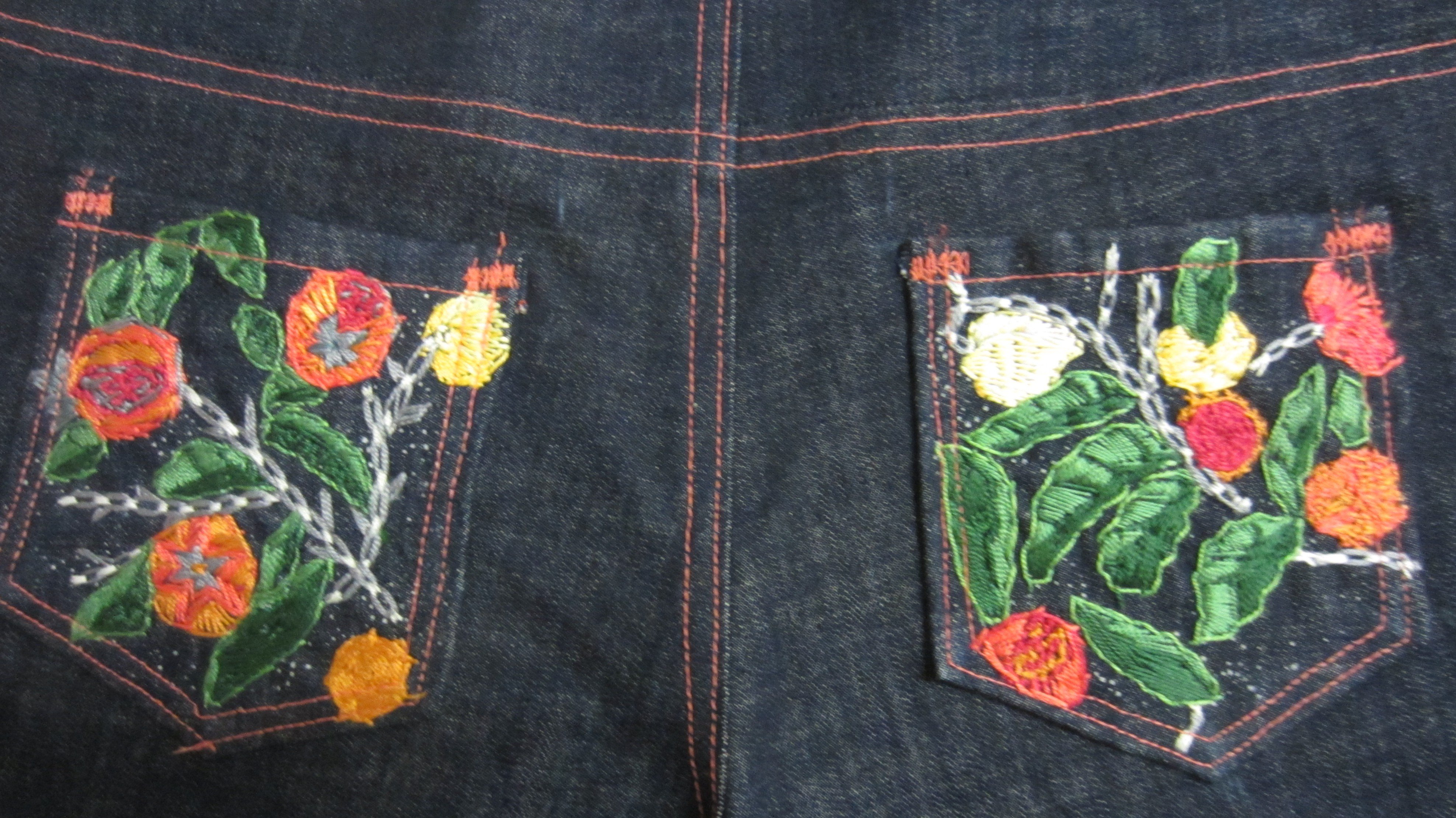 Back view of jeans, hand embroidered pockets, Sew Pomona