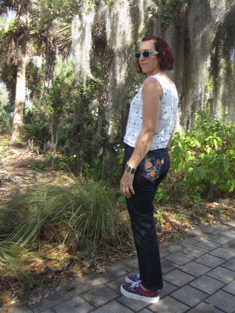 Organic Denim Jeans with hand embroidered pockets, Sew Pomona