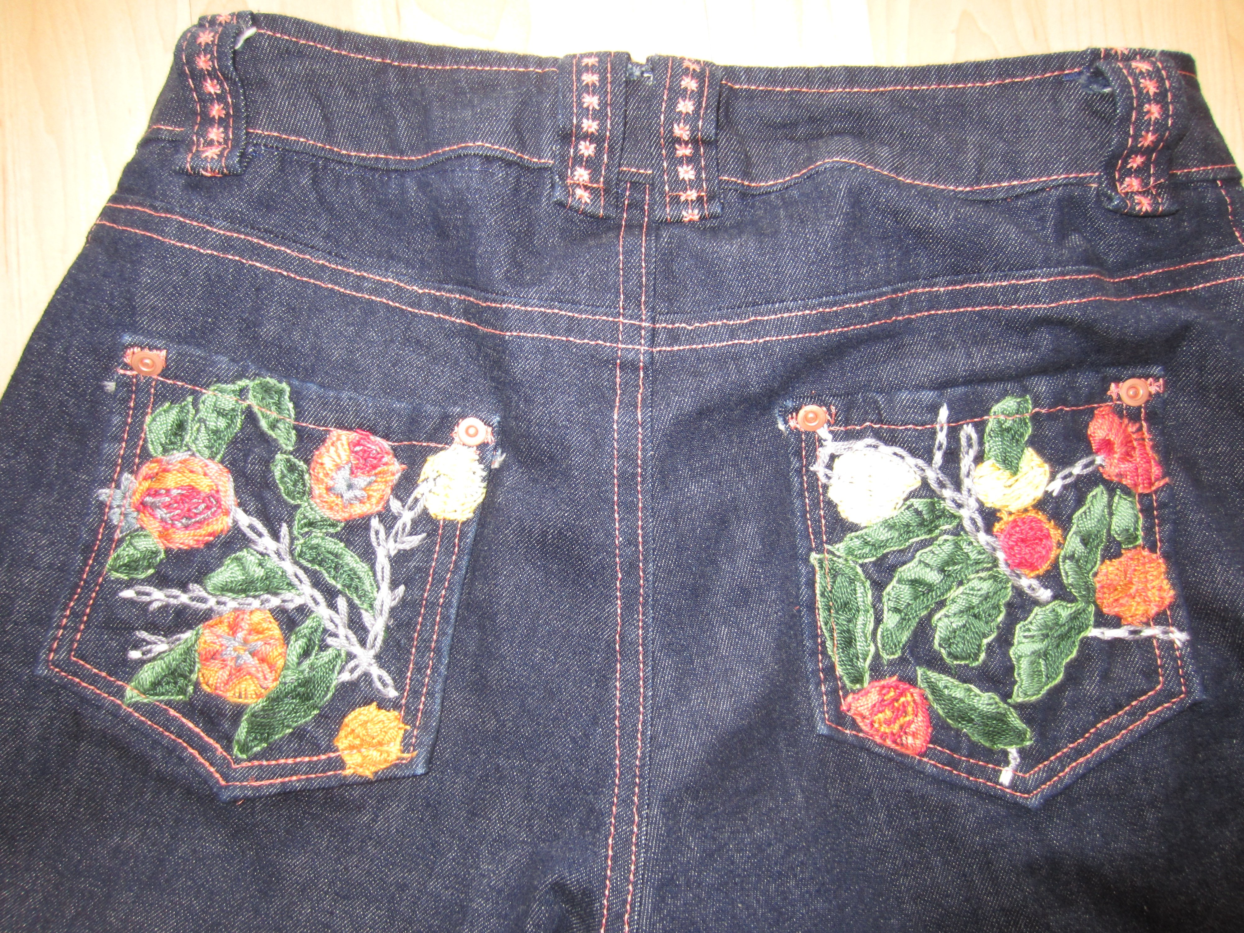 detail shots-Organic Denim Jeans with Hand Embroidery- Sew Pomona