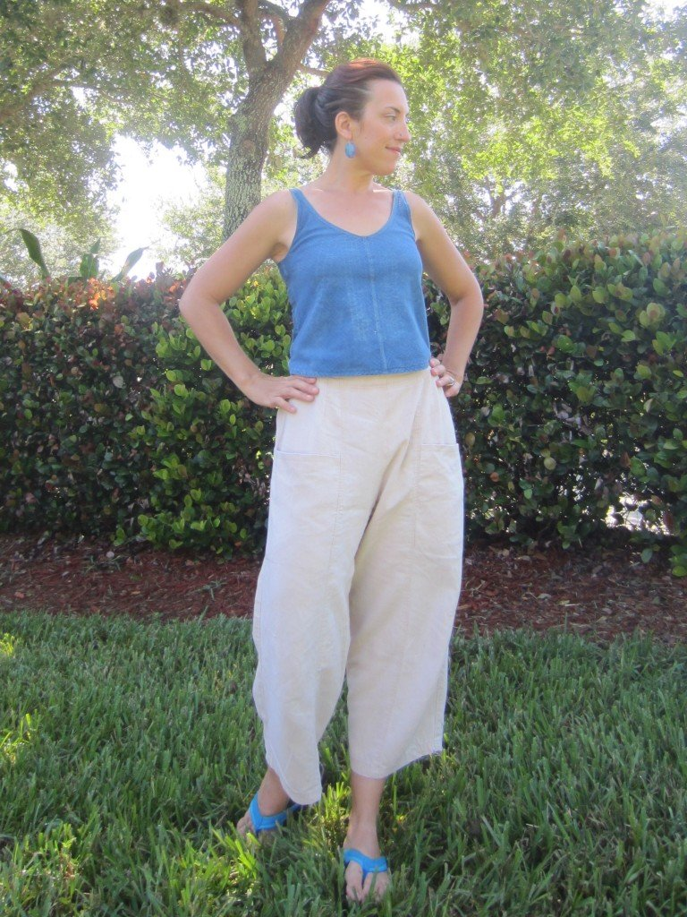 MMM Day 7- Self Drafted Indigo Tank and Marcy Tilton Avocado dyed pants.  Sew Pomona