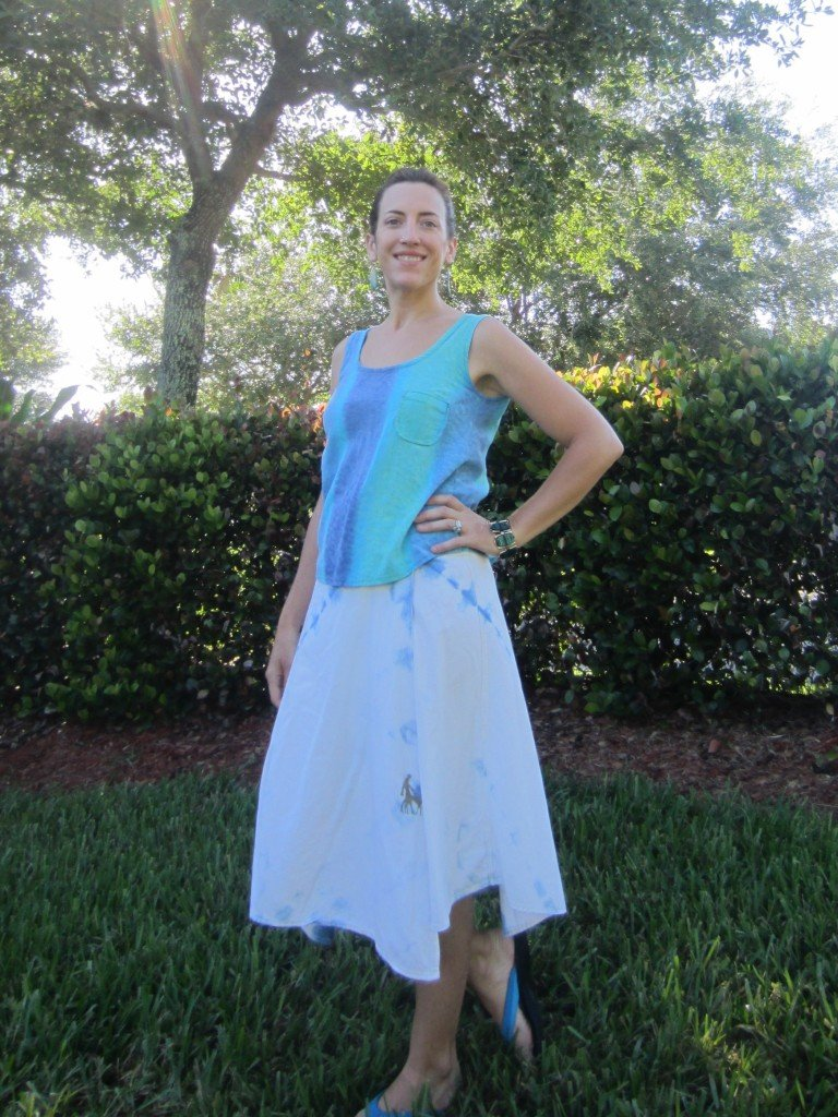 MMM Day 9- Grainline Tank and Indigo shibori Wrap Skirt from Shape Shape.  Sew Pomona