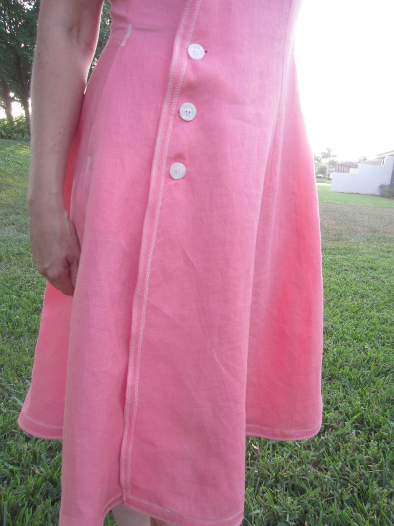 Coral Linen Vintage Vogue Asymetrical Dress, V9105