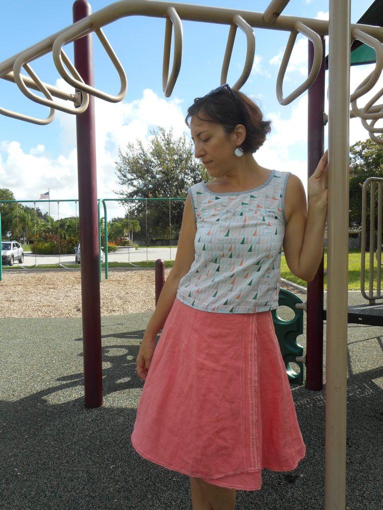 Coral Linen Skirt Refashion