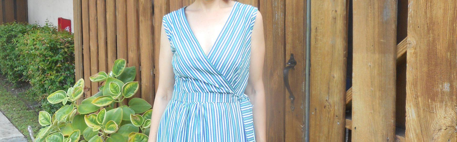 Striped Surplice Wrap Dress
