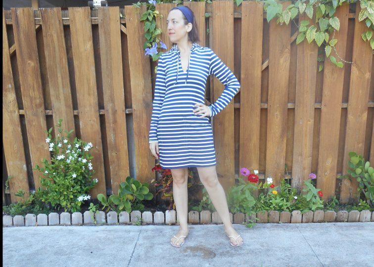 Navy + White Stripe Hooded Swim Dress