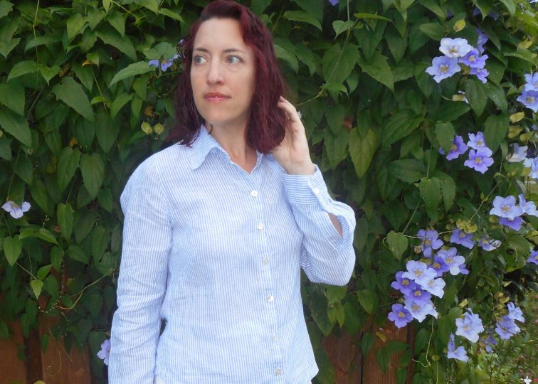 Blue and White Linen Pinstripe Self-drafted Tailored Shirt