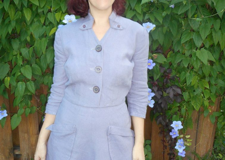 Wisteria Linen Vintage Dress Simplicity 4873