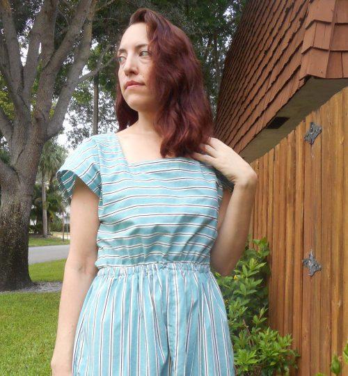 Vintage 80's McCall's 2481 Stripe Dress