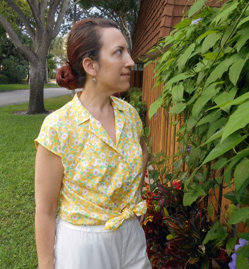 Yellow Floral Vintage McCall's 6634 Blouse
